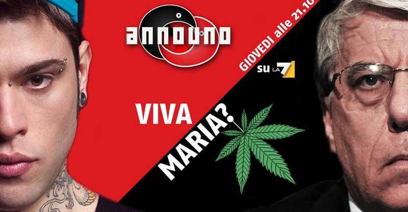 Announo, La7, puntata sulla Cannabis, ospiti Fedez e Giovanardi